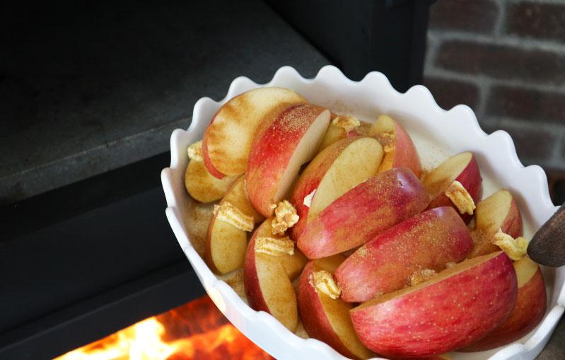 薪ストーブ りんごのシナモン焼き 手順