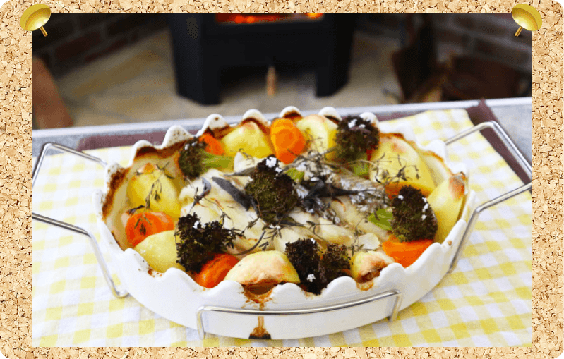 白身魚とたっぷり野菜の塩レモンハーブ蒸し 薪ストーブレシピ