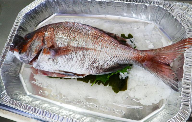 鯛の塩窯焼き 材料 下準備