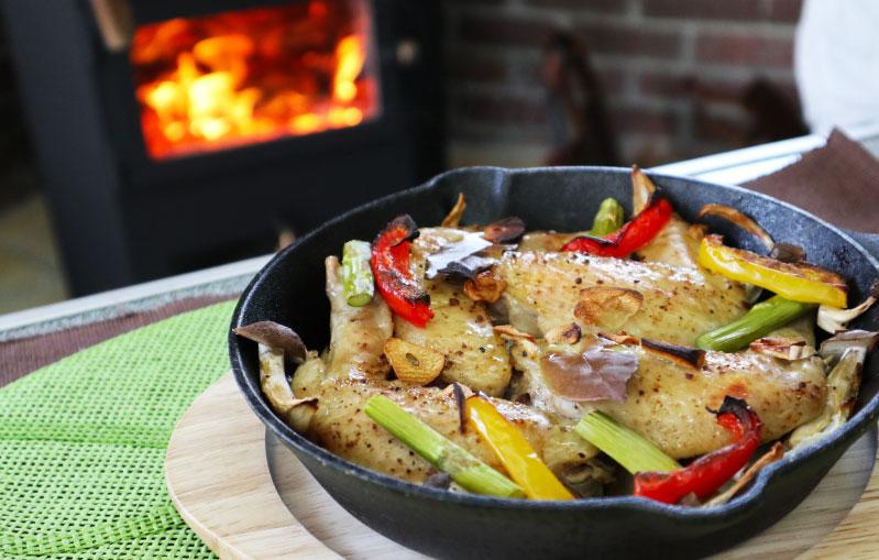 薪ストーブレシピ 鶏の手羽焼き 完成
